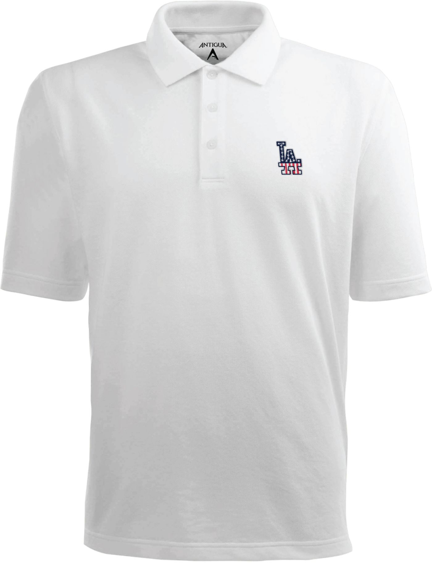 Antigua Men's Los Angeles Dodgers Xtra-Lite Patriotic Logo White Pique Performance Polo