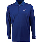 Antigua Men's Los Angeles Dodgers Exceed Royal   Long Sleeve Performance Polo