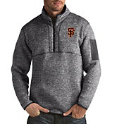 Antigua Men's San Francisco Giants Fortune Grey Half-Zip Pullover