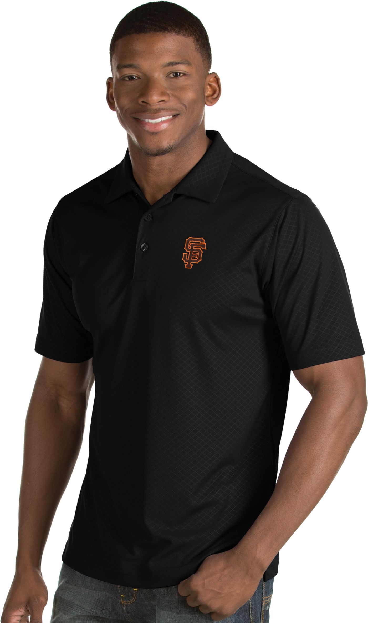 Antigua Men's San Francisco Giants Black Inspire Performance Polo