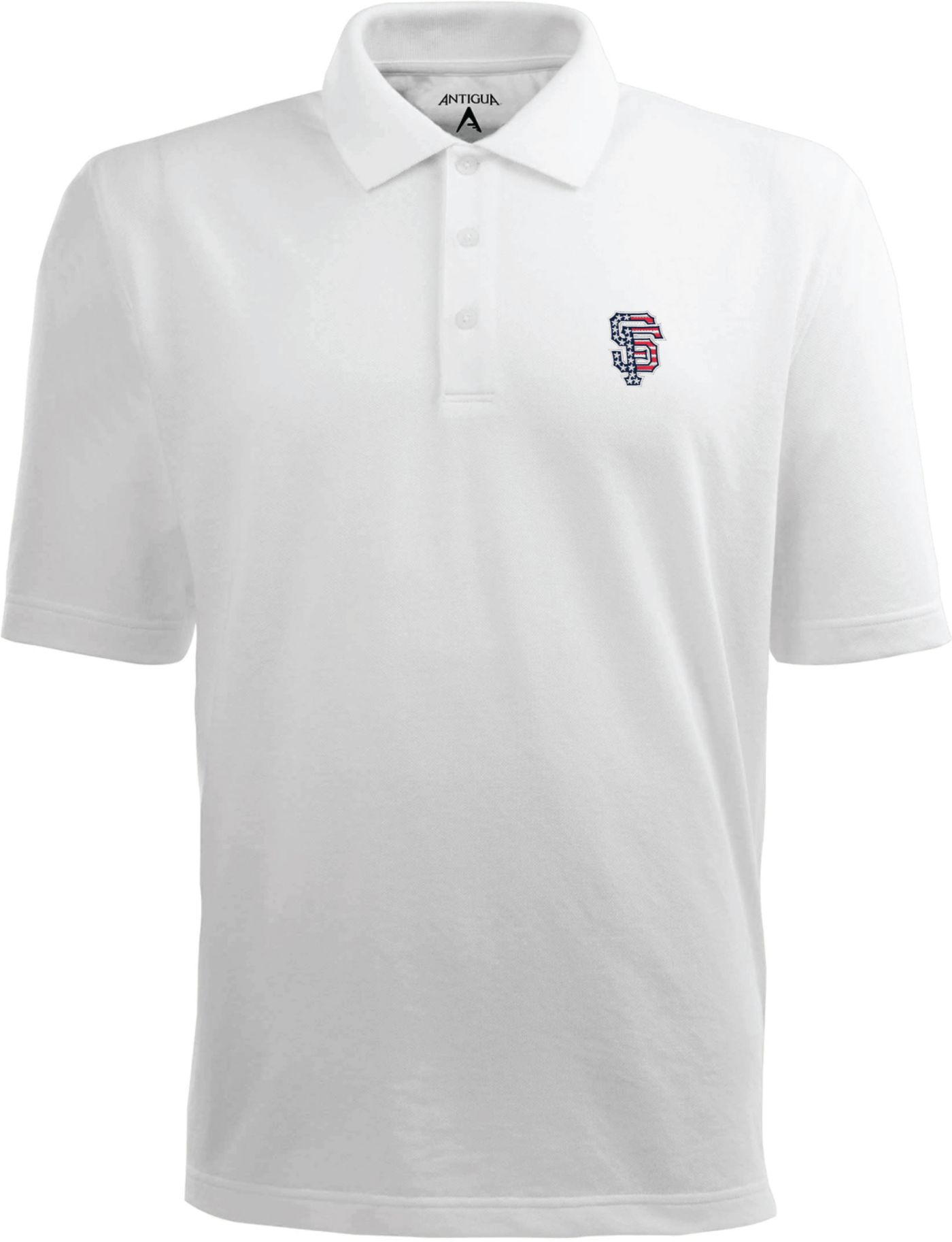 Antigua Men's San Francisco Giants Xtra-Lite Patriotic Logo White Pique Performance Polo
