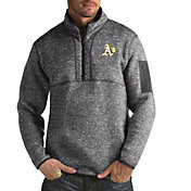 Antigua Men's Oakland Athletics Grey Fortune Half-Zip Pullover
