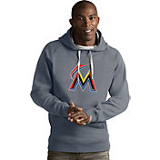 Antigua Men's Miami Marlins Grey Victory Pullover