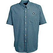 Antigua Men's Seattle Mariners Scholar Plaid Button-Up Shirt