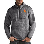 Antigua Men's New York Mets Fortune Grey Half-Zip Pullover