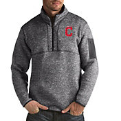 Antigua Men's Cleveland Indians Fortune Grey Half-Zip Pullover