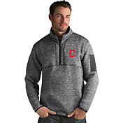 Antigua Men's Cleveland Indians Grey Fortune Half-Zip Pullover