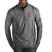 Antigua Men's Cleveland Indians Tempo Grey Quarter-Zip Pullover