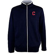 Antigua Men's Cleveland Indians Leader Navy Full-Zip Jacket
