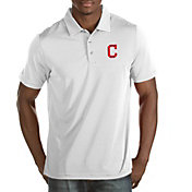 Antigua Men's Cleveland Indians Quest White Performance Polo