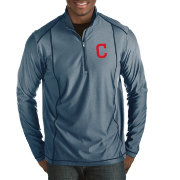 Antigua Men's Cleveland Indians Tempo Navy Quarter-Zip Pullover