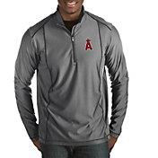 Antigua Men's Los Angeles Angels Tempo Grey Quarter-Zip Pullover