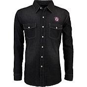 Antigua Men's Washington Nationals Chambray Button-Up Black Long Sleeve Shirt