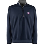 Antigua Men's Washington Nationals Leader Navy Quarter-Zip Pullover
