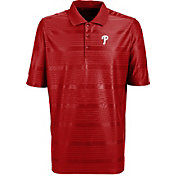 Antigua Men's Philadelphia Phillies Illusion Red Striped Performance Polo