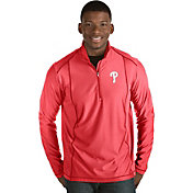 Antigua Men's Philadelphia Phillies Red Tempo Quarter-Zip Pullover