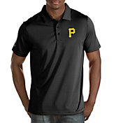 Antigua Men's Pittsburgh Pirates Black Quest Performance Polo