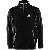 Antigua Men's Colorado Rockies Quarter-Zip Black Ice Pullover