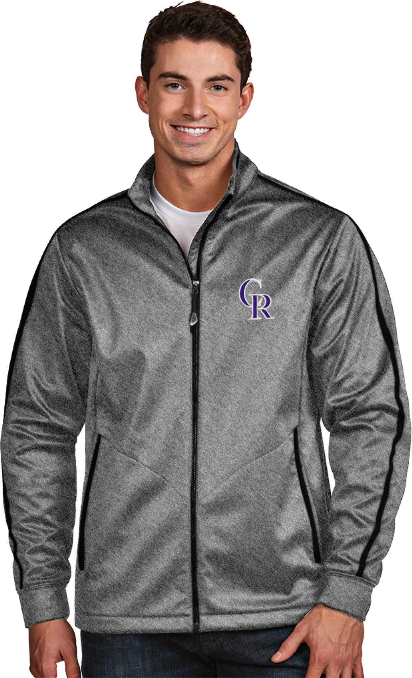 Antigua Men's Colorado Rockies Grey Golf Jacket