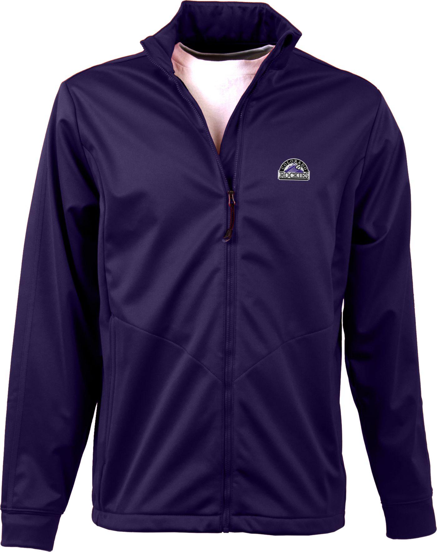 Antigua Men's Colorado Rockies Full-Zip Purple Golf Jacket