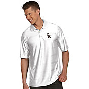Antigua Men's Colorado Rockies Illusion White Striped Performance Polo