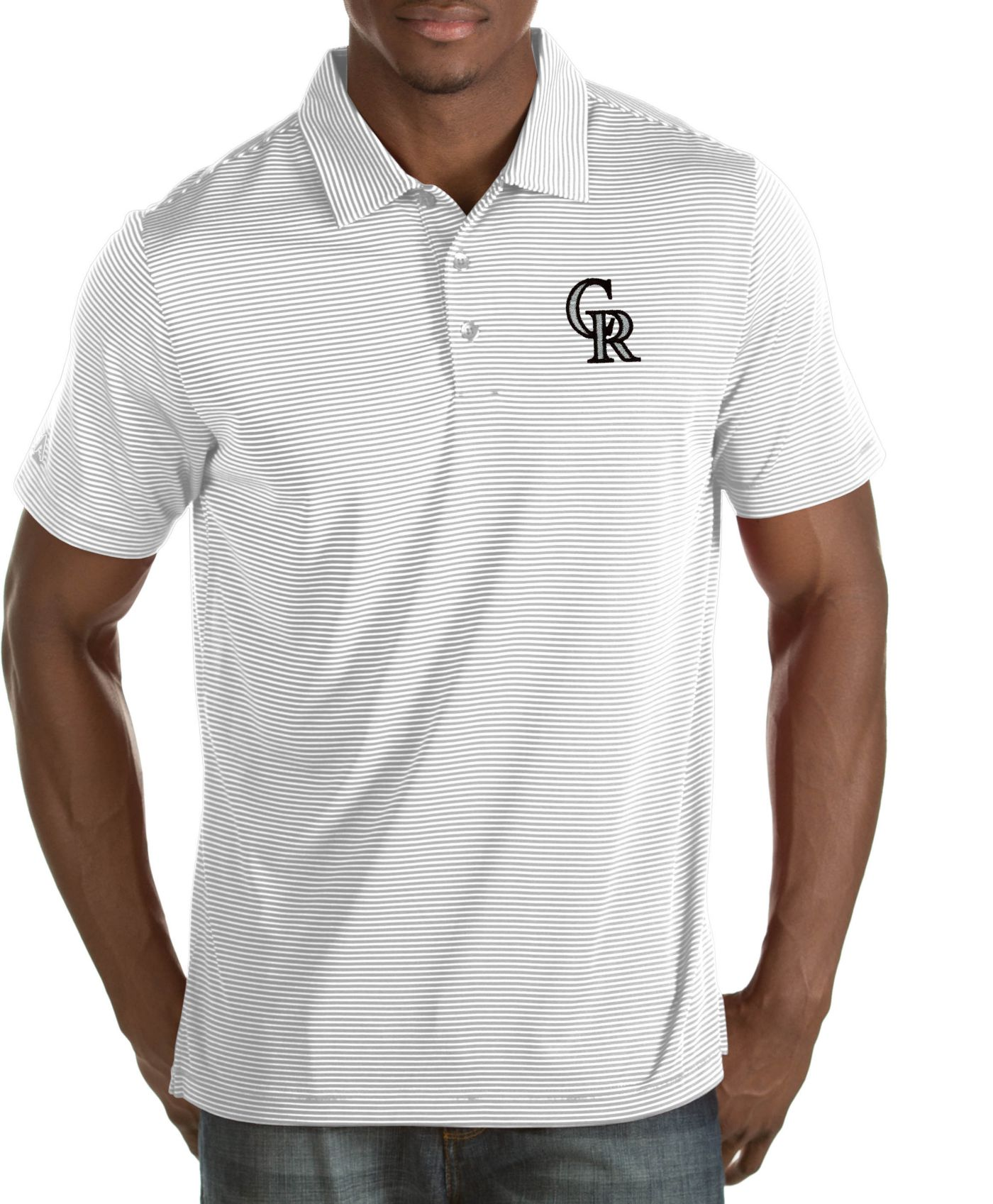 Antigua Men's Colorado Rockies Quest White Performance Polo