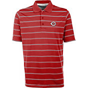 Antigua Men's Cincinnati Reds Deluxe Red Striped Performance Polo