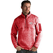 Antigua Men's Cincinnati Reds Red Fortune Half-Zip Pullover