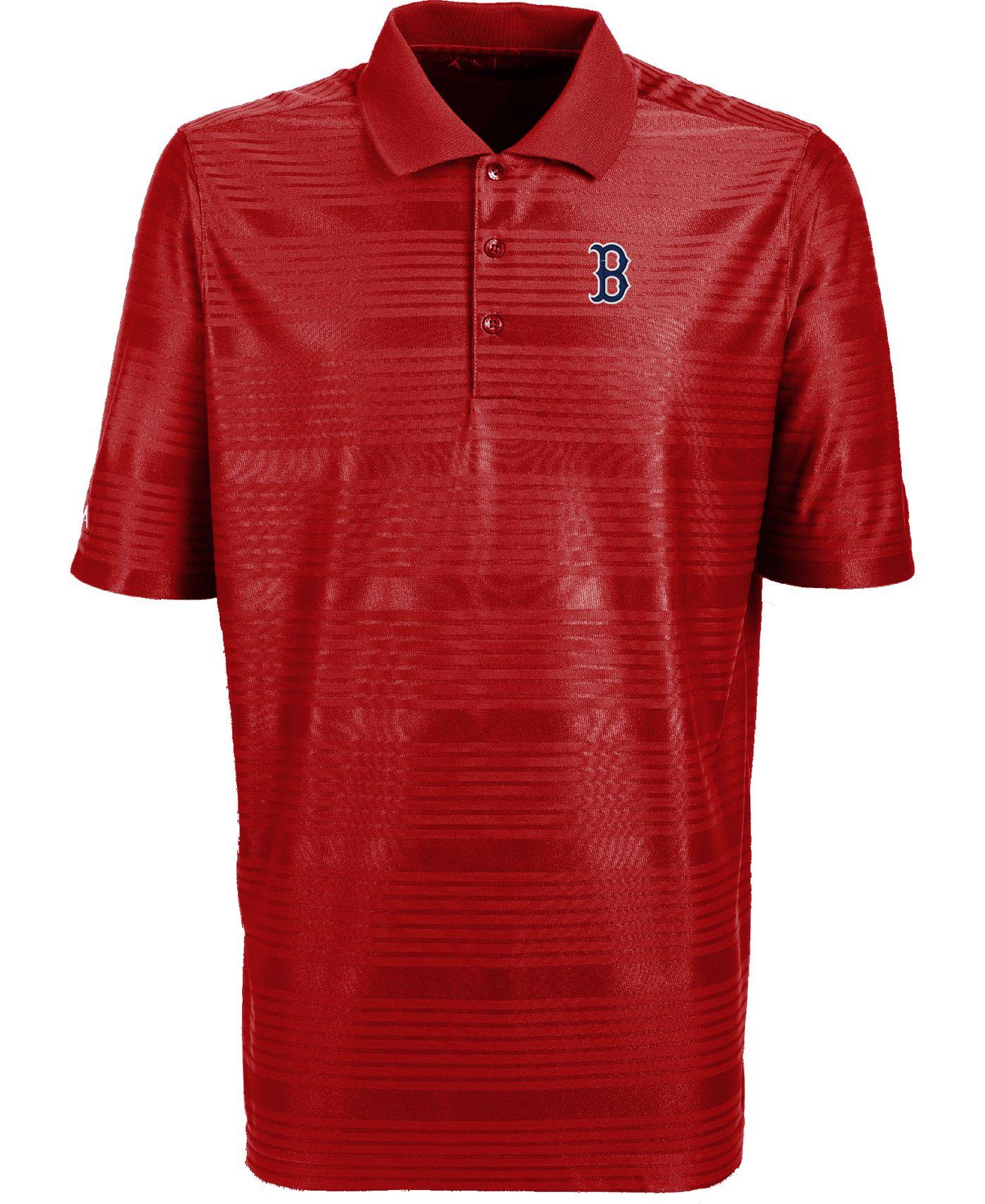 Antigua Men's Boston Red Sox Illusion Red Striped Performance Polo