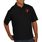 Antigua Men's Baltimore Orioles Pique Black Performance Polo