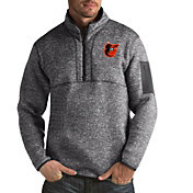 Antigua Men's Baltimore Orioles Fortune Grey Half-Zip Pullover