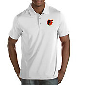 Antigua Men's Baltimore Orioles Quest White Performance Polo