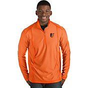 Antigua Men's Baltimore Orioles Orange Tempo Quarter-Zip Pullover