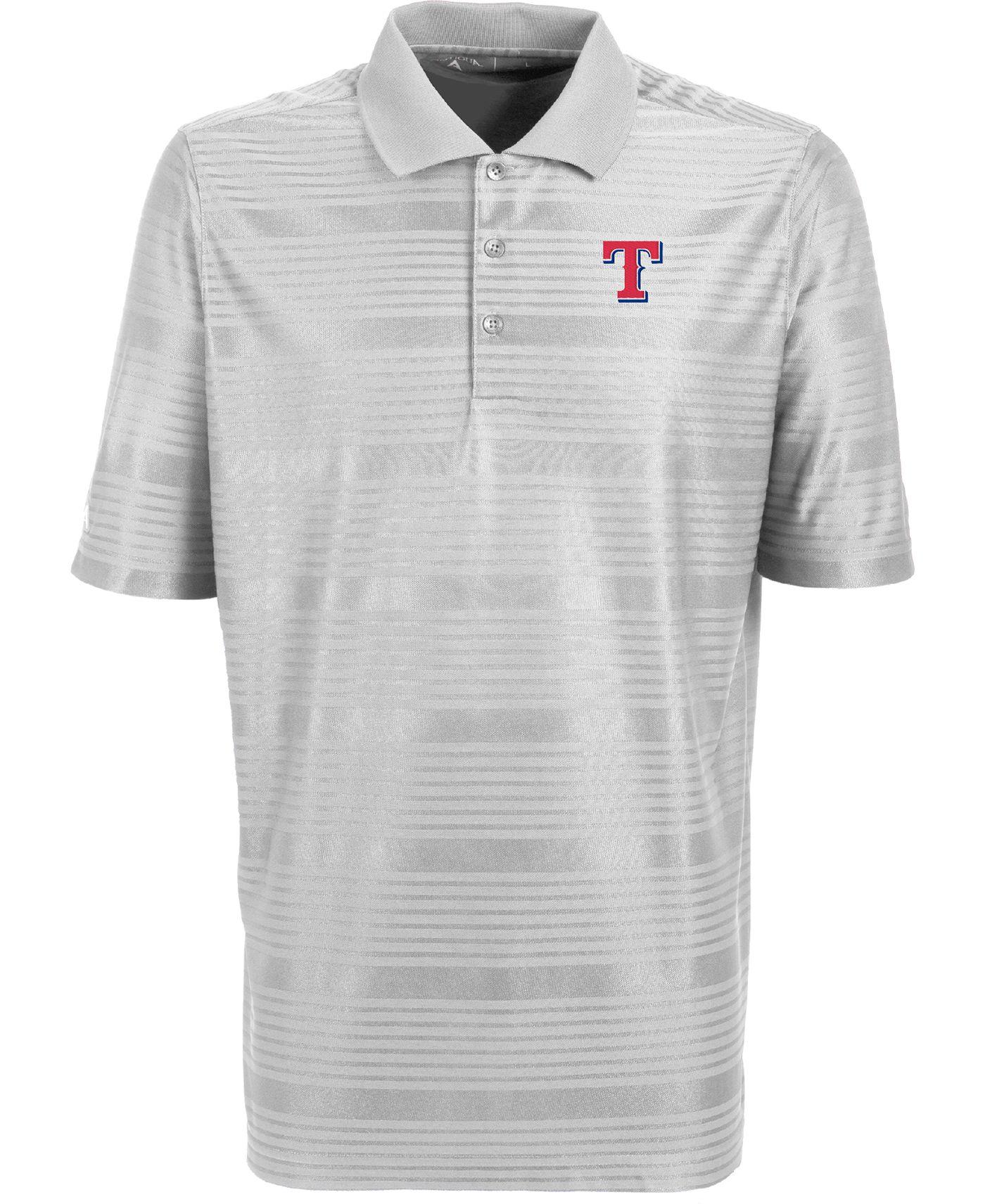 Antigua Men's Texas Rangers Illusion White Striped Performance Polo