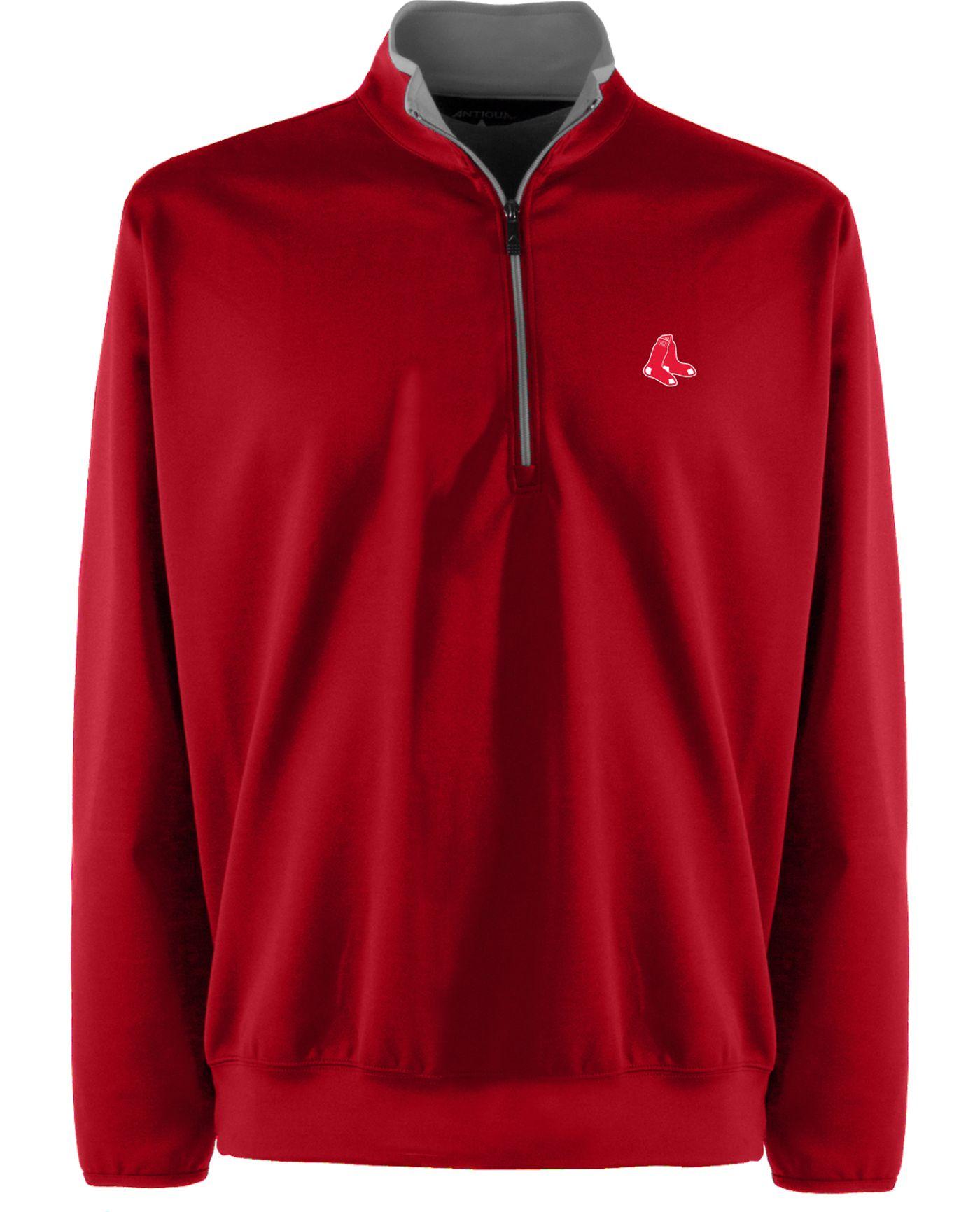 Antigua Men's Boston Red Sox Leader Red Quarter-Zip Pullover