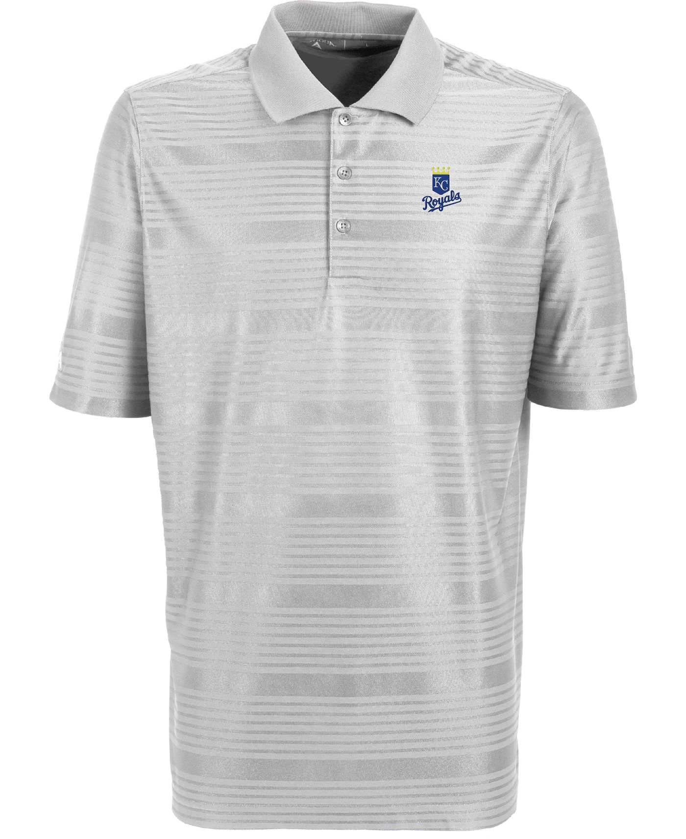 Antigua Men's Kansas City Royals Illusion White Striped Performance Polo