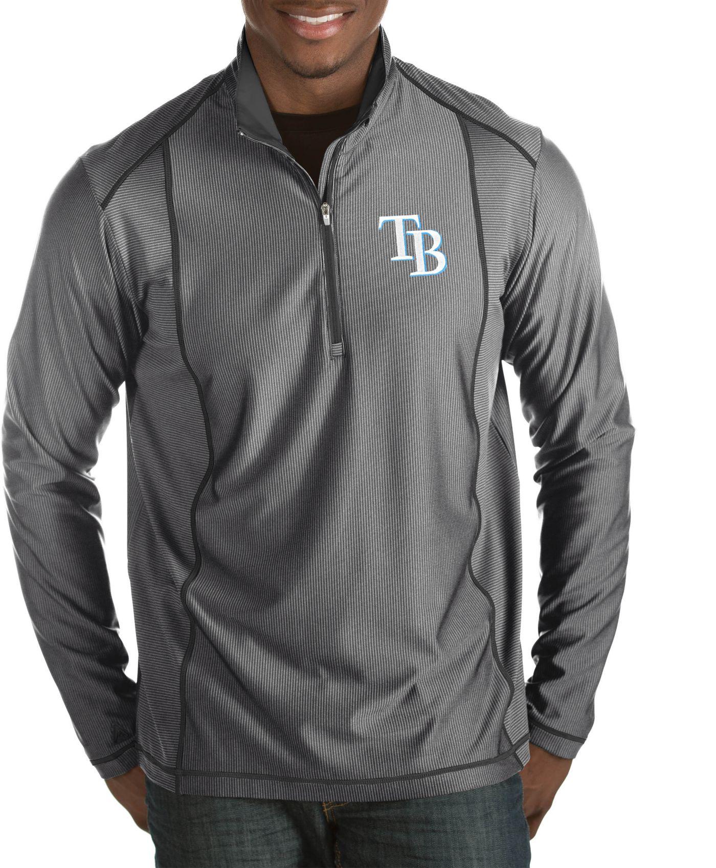 Antigua Men's Tampa Bay Rays Tempo Grey Quarter-Zip Pullover