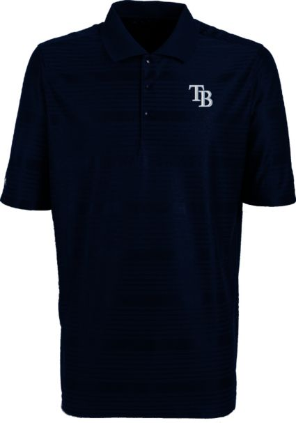 Antigua Men's Tampa Bay Rays Illusion Navy Striped Performance Polo