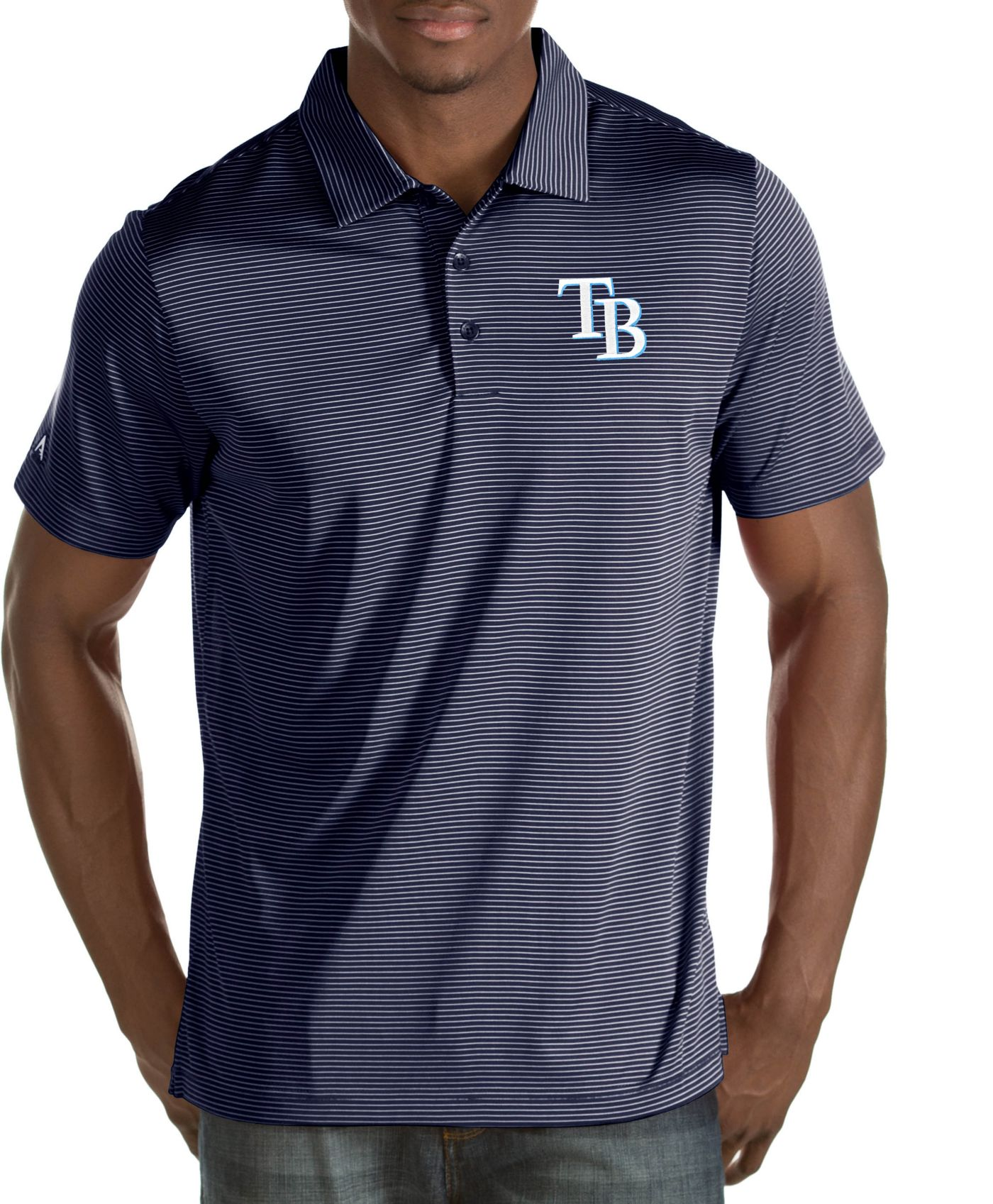 Antigua Men's Tampa Bay Rays Quest Navy Performance Polo