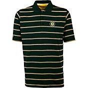 Antigua Men's Oakland Athletics Deluxe Green Striped Performance Polo