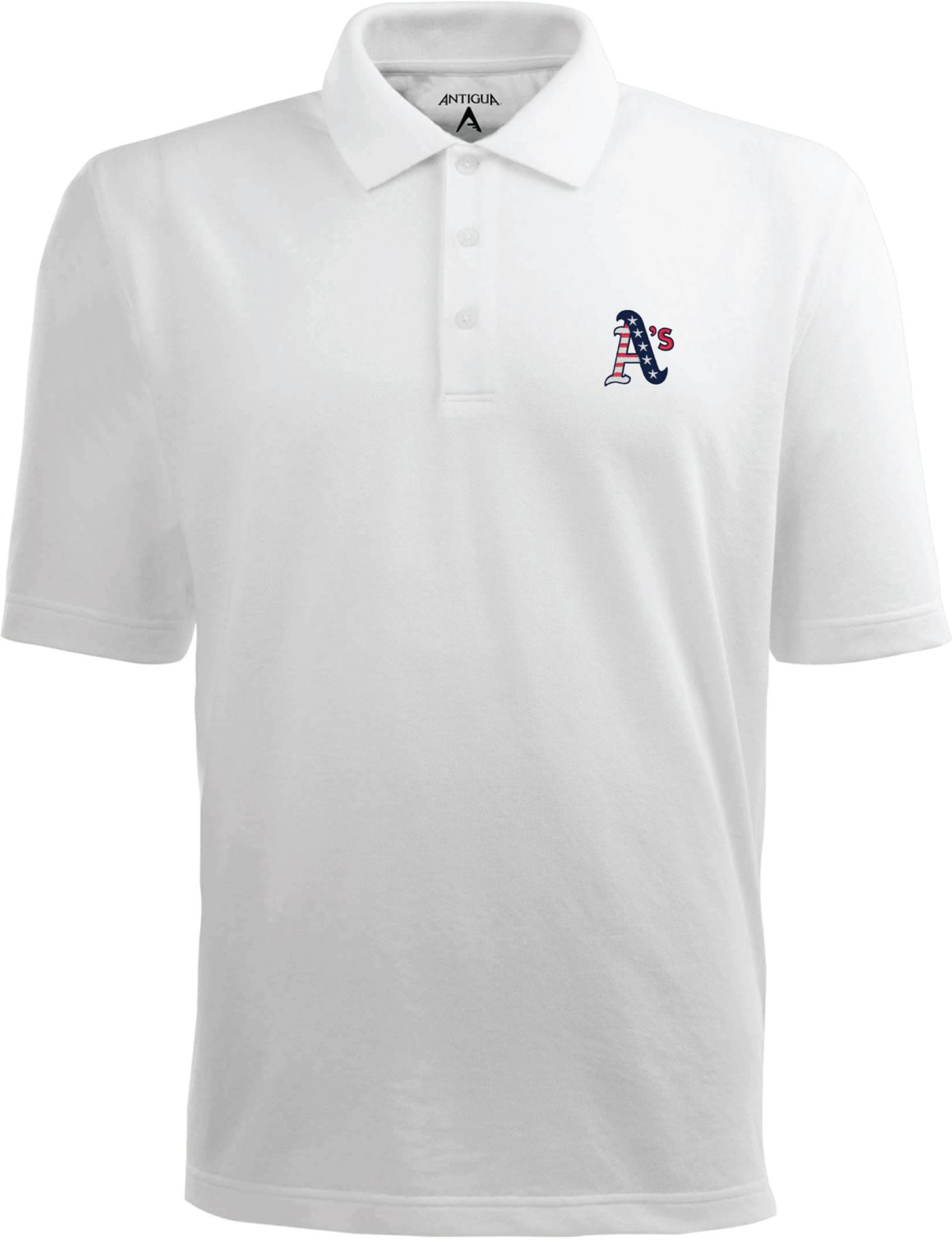 Antigua Men's Oakland Athletics Xtra-Lite Patriotic Logo White Pique Performance Polo