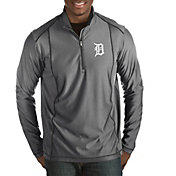 Antigua Men's Detroit Tigers Tempo Grey Quarter-Zip Pullover