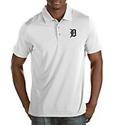 Antigua Men's Detroit Tigers White Quest Performance Polo