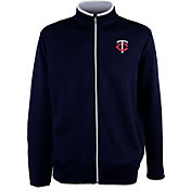 Antigua Men's Minnesota Twins Leader Navy Full-Zip Jacket