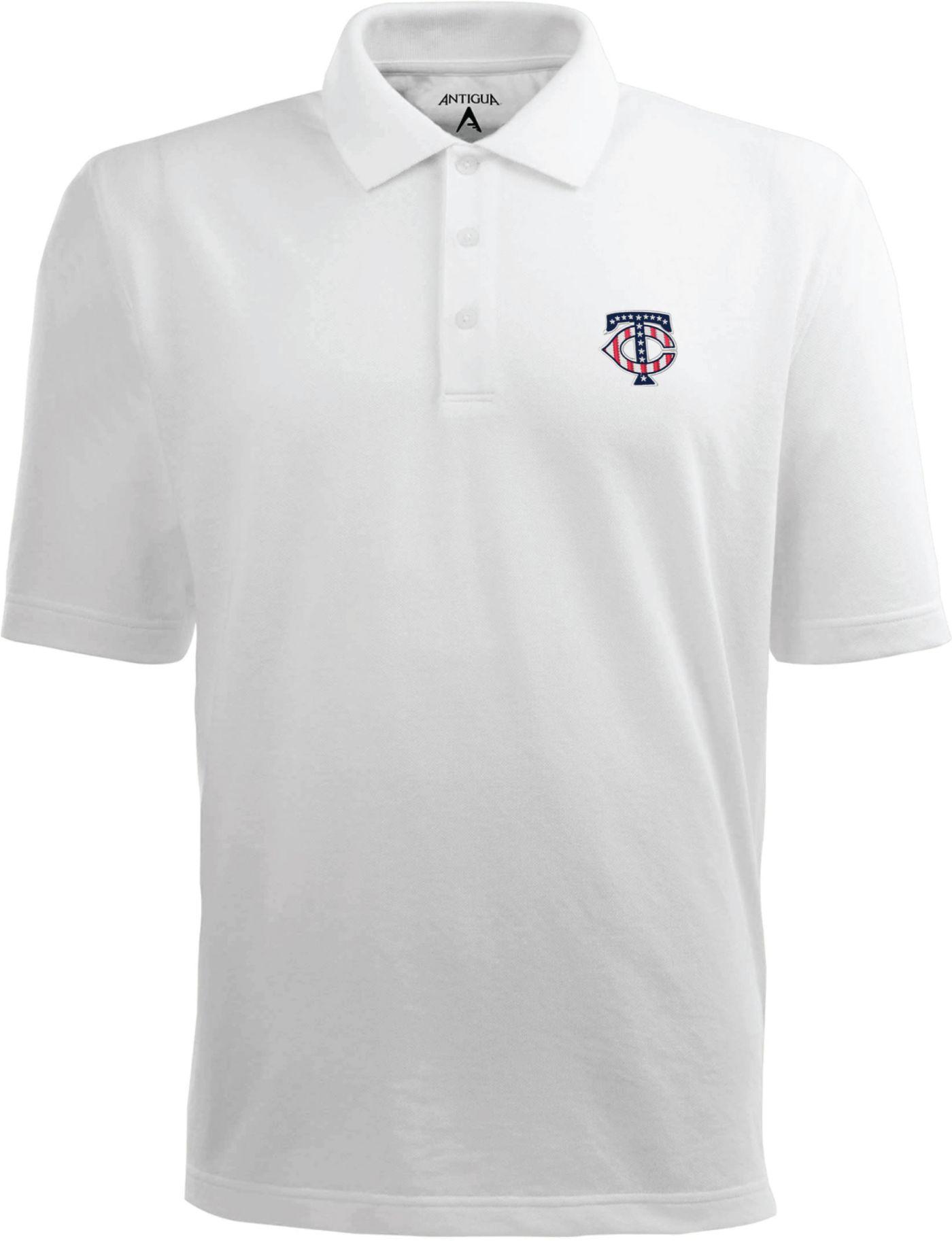 Antigua Men's Minnesota Twins Xtra-Lite Patriotic Logo White Pique Performance Polo