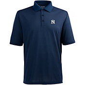Antigua Men's New York Yankees Navy Xtra-Lite Pique Performance Polo