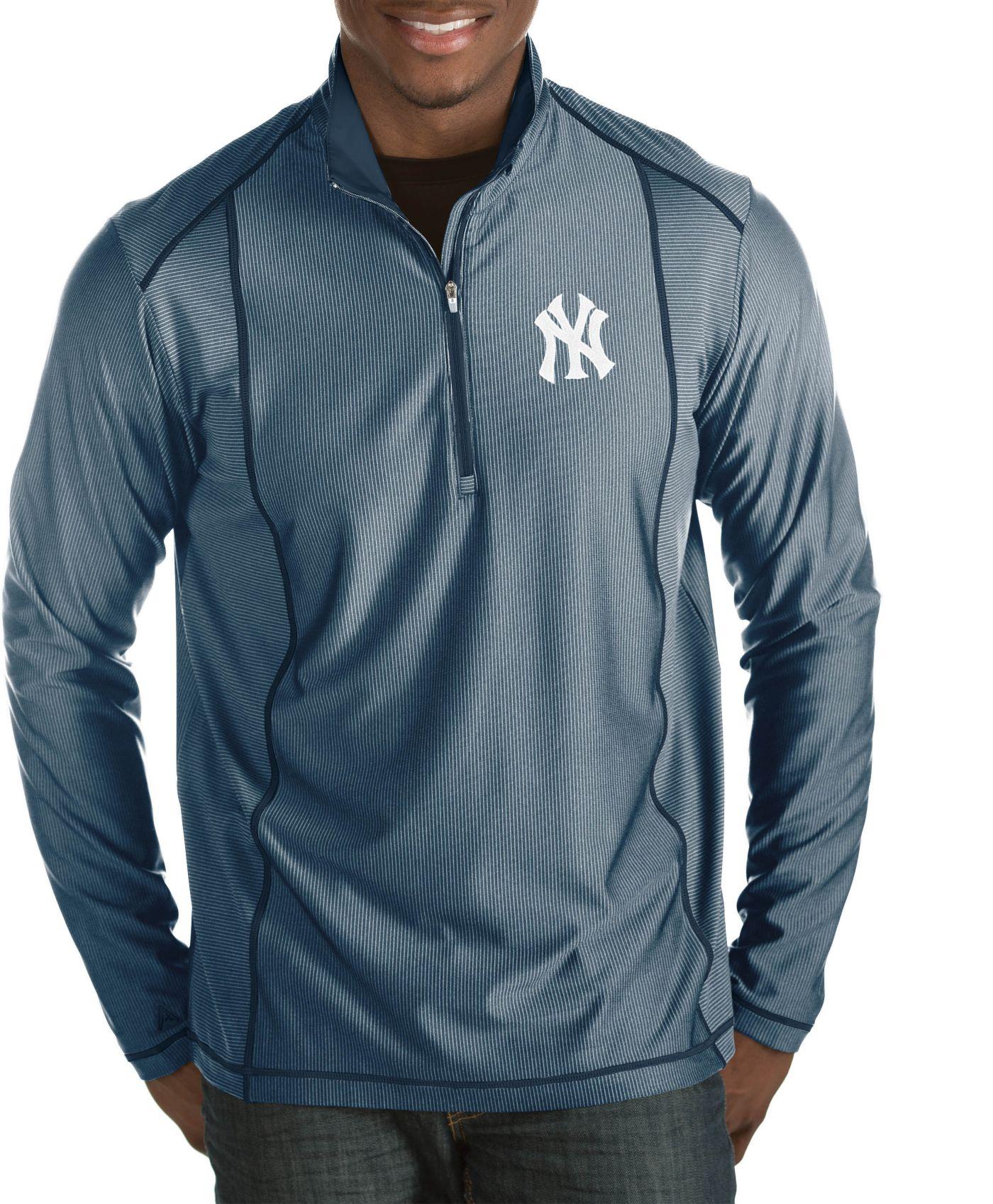 Antigua Men's New York Yankees Tempo Navy Quarter-Zip Pullover