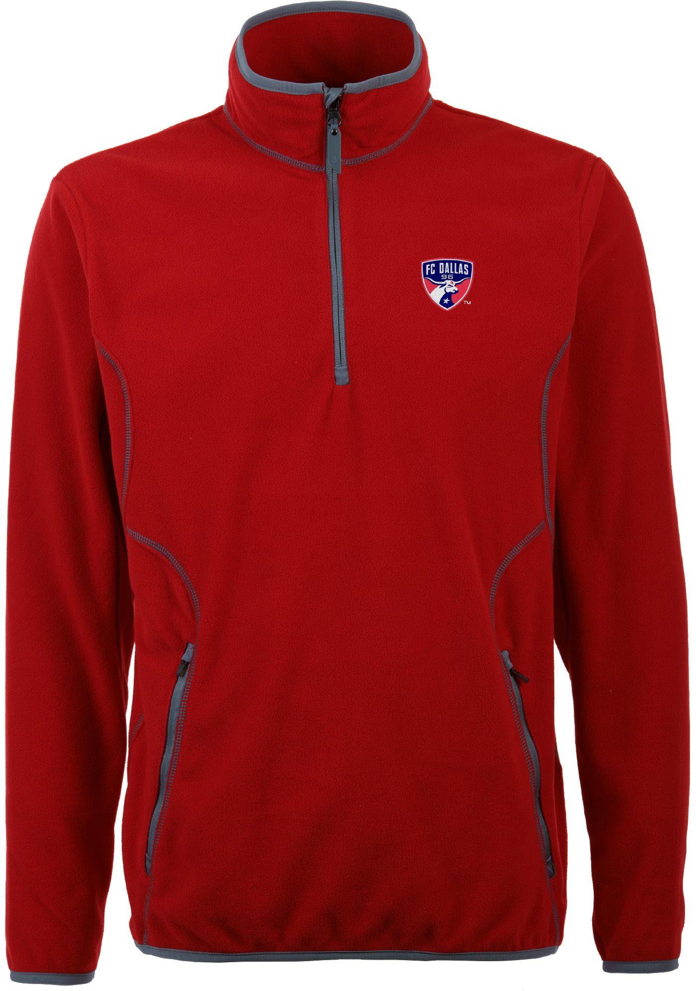 Antigua Men's FC Dallas Ice Red Quarter-Zip Fleece Jacket