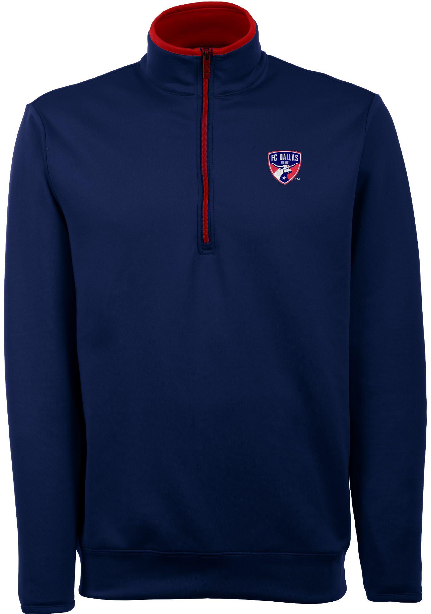 Antigua Men's FC Dallas Leader Navy Quarter-Zip Jacket