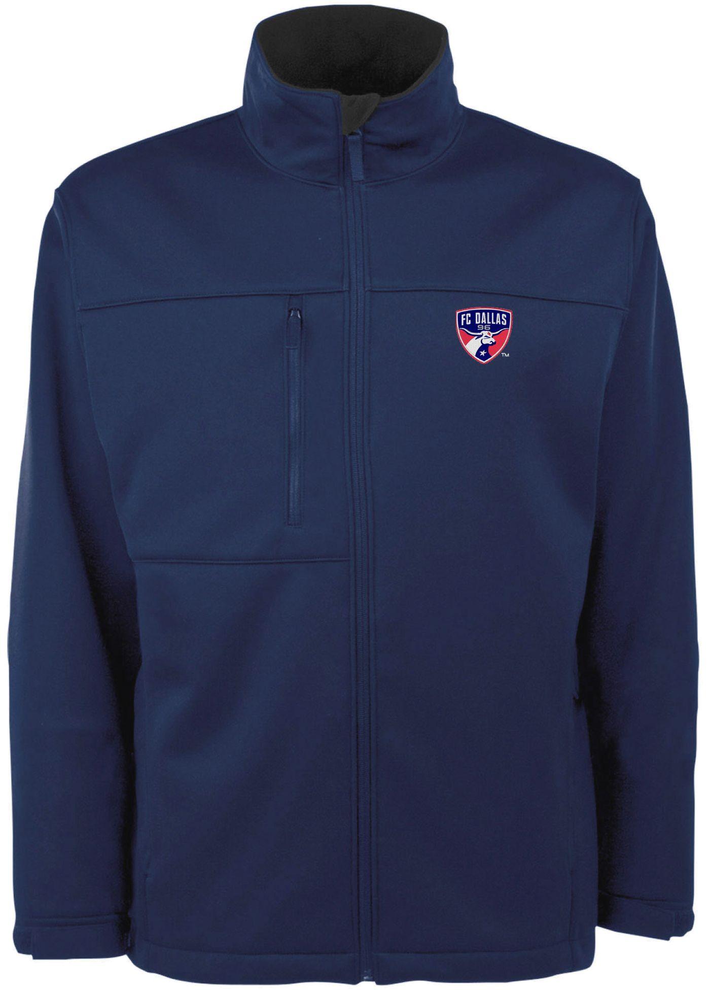 Antigua Men's FC Dallas Traverse Navy Soft-Shell Full-Zip Jacket